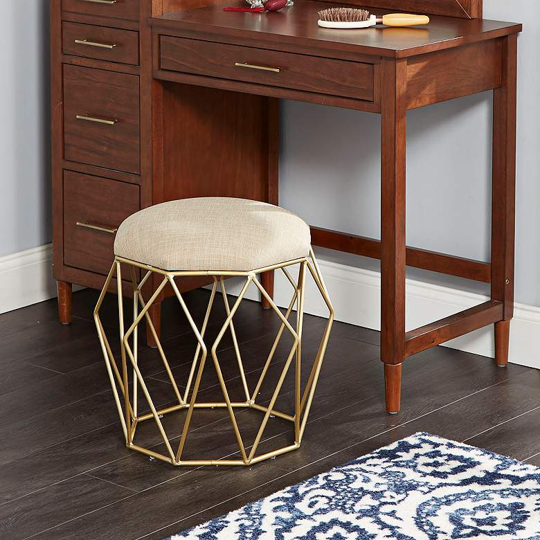 Collins Gold Geometric Open Cage Vanity Stool