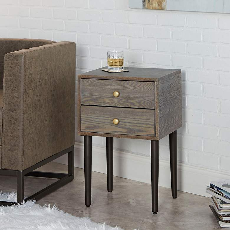 Hepburn 15 3 4 Quot Wide Graphite 2 Drawer Modern Side Table