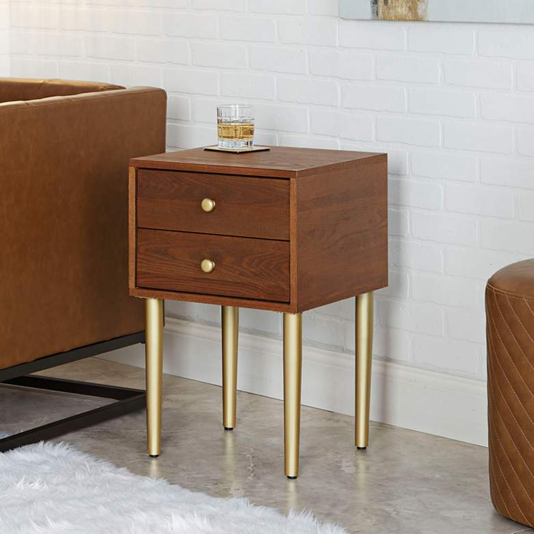 "Hepburn 15 3/4"" Wide Walnut 2-Drawer Modern Side Table"