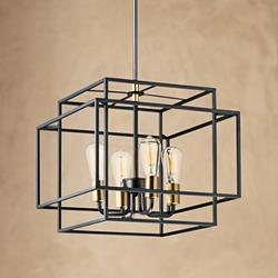 "Maxim Liner 17 3/4"" Wide Black and Satin Brass Pendant Light"