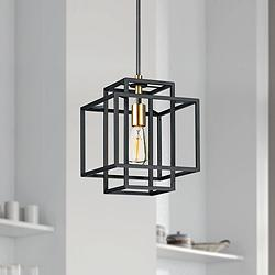 "Maxim Liner 9 3/4"" Wide Black and Satin Brass Mini Pendant"
