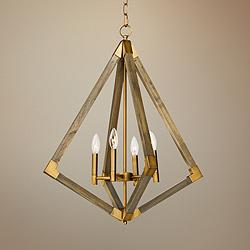 "Vector 24"" Wide Weathered Oak w/ Antique Brass Pendant Light"