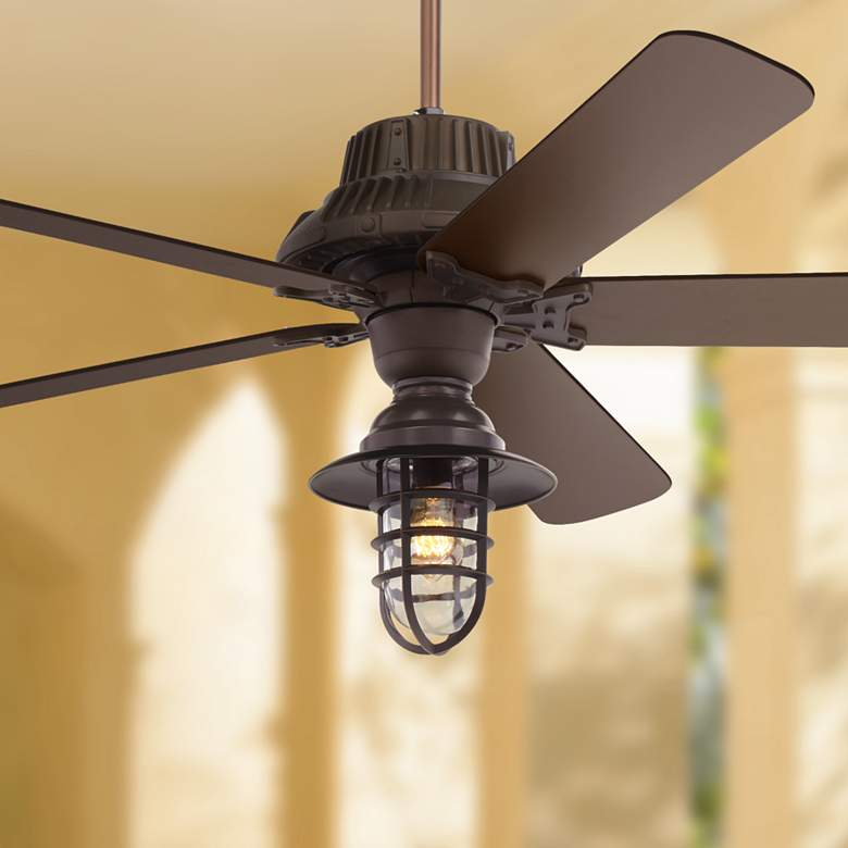 "60"" Industrial Forge Marlowe Cage LED Outdoor Ceiling Fan"