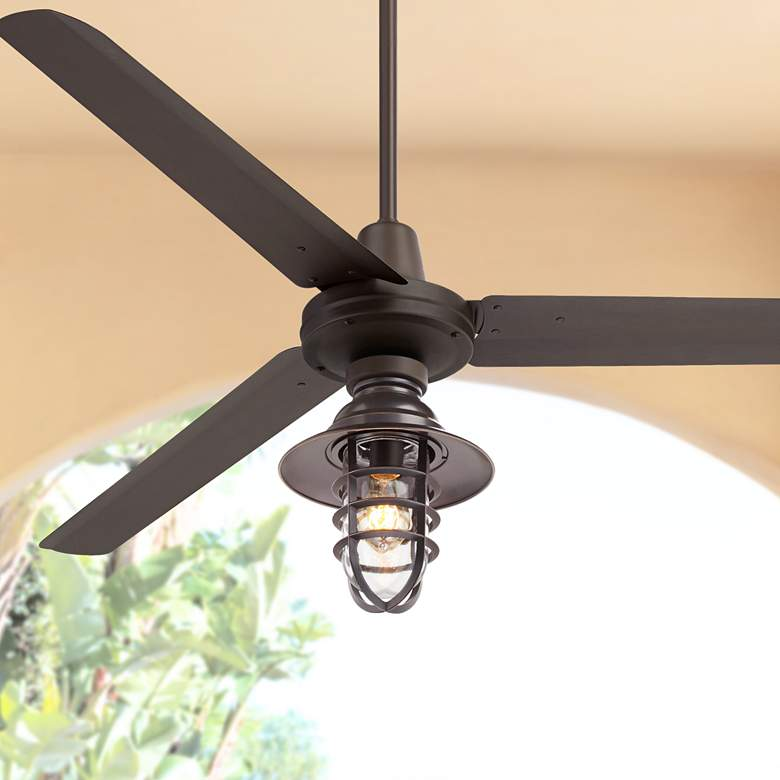 "60"" Turbina Marlowe DC Damp Bronze LED Ceiling Fan"