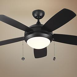 "44"" Monte Carlo Discus II Matte Black LED Ceiling Fan"