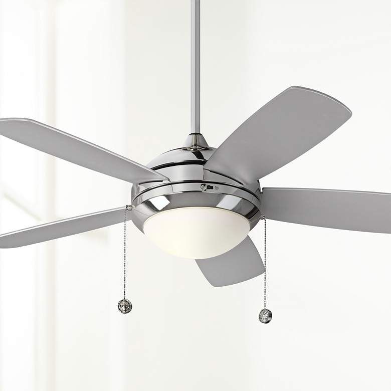 "44"" Monte Carlo Discus II Polished Nickel LED Ceiling Fan"