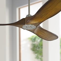 "52"" Maverick II Koa Brown and Brushed Steel Ceiling Fan"