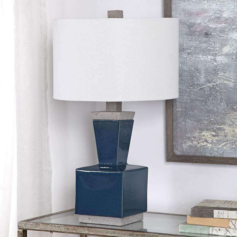 Jorris Deep Blue Glaze Ceramic Minimalist Table Lamp
