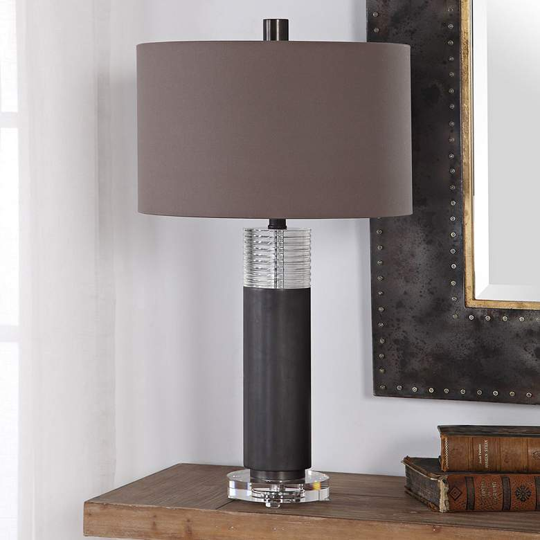 Uttermost Ryne Plated Oxidized Bronze Iron Column Table Lamp
