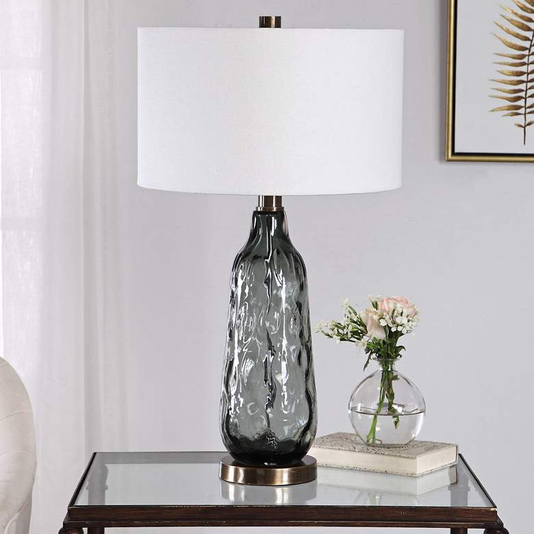 Zena Translucent Blue Gray Thick Water Glass Table Lamp