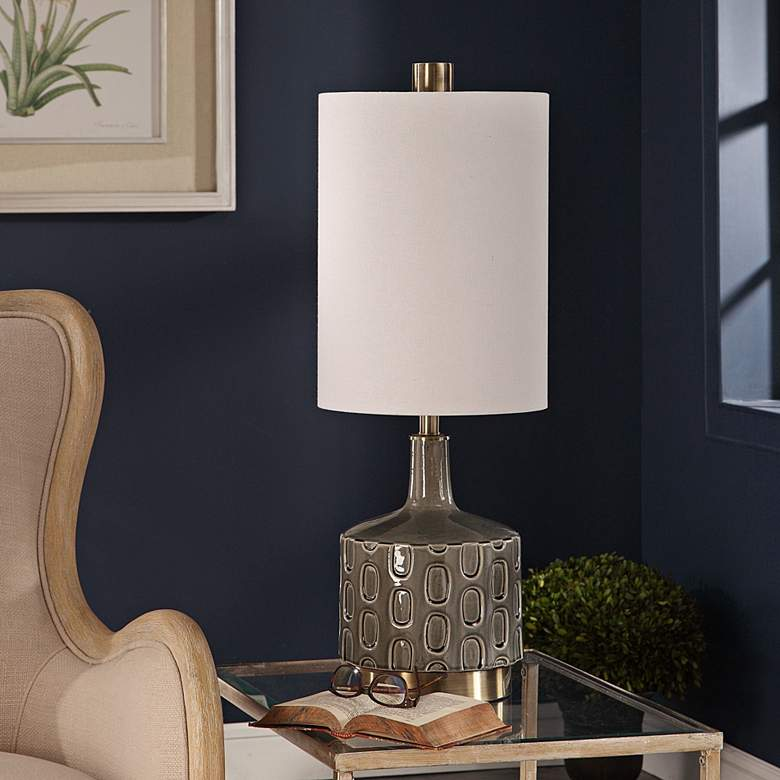 Uttermost Darrin Crackled Gray Glaze Ceramic Table Lamp