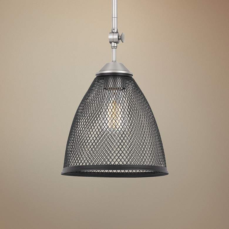 "Annex 9"" Wide Antique Nickel and Matte Black Mini Pendant"