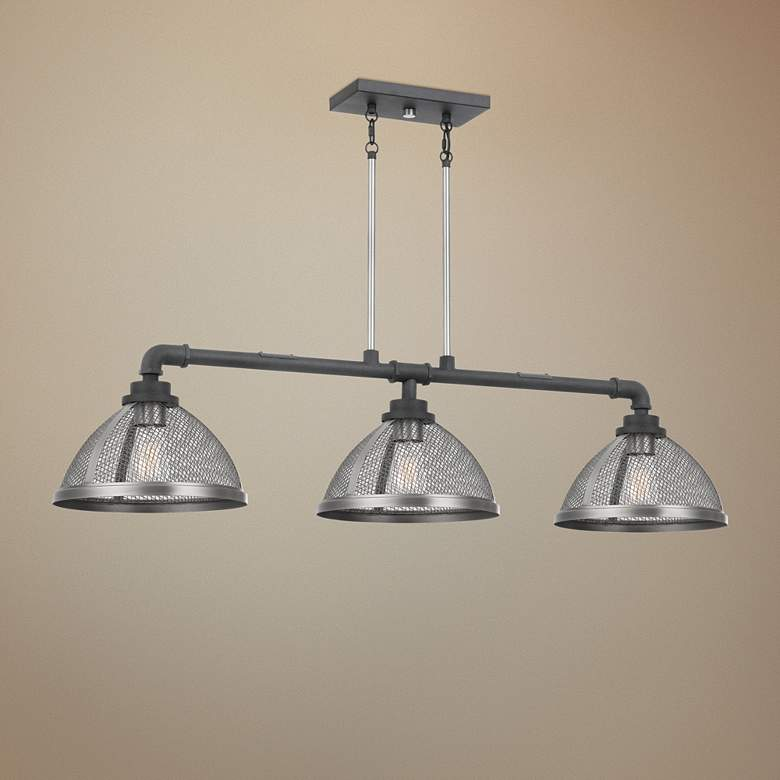 "Awning 44""W Mottled Black Kitchen Island Light Chandelier"
