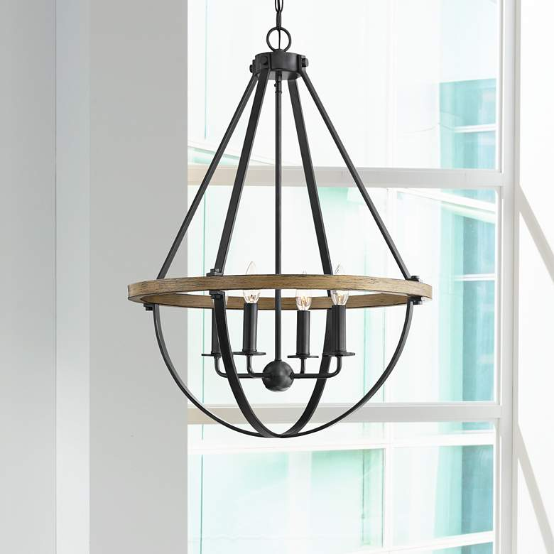 "Quoizel Bartlett 22"" Wide Earth Black 4-Light Pendant"