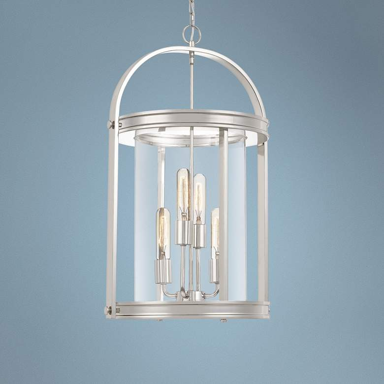 "Quoizel Baltimore 16""W Polished Nickel 4-Light Foyer Pendant"