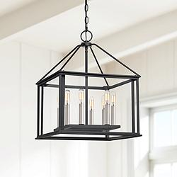 "Quoizel Citadel 17"" Wide Earth Black 8-Light Pendant Light"