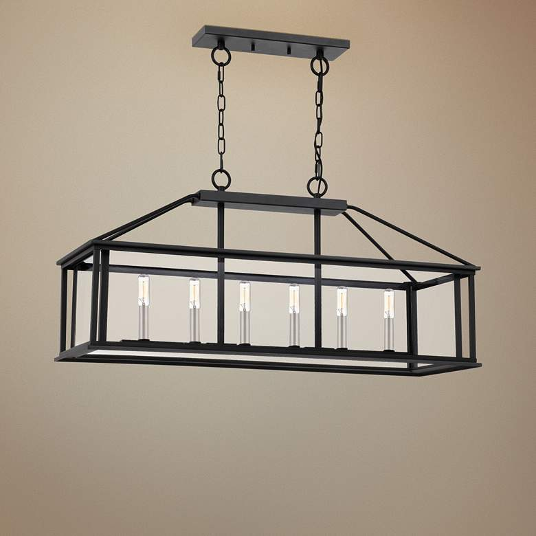"Citadel 36"" Wide Earth Black Kitchen Island Light"