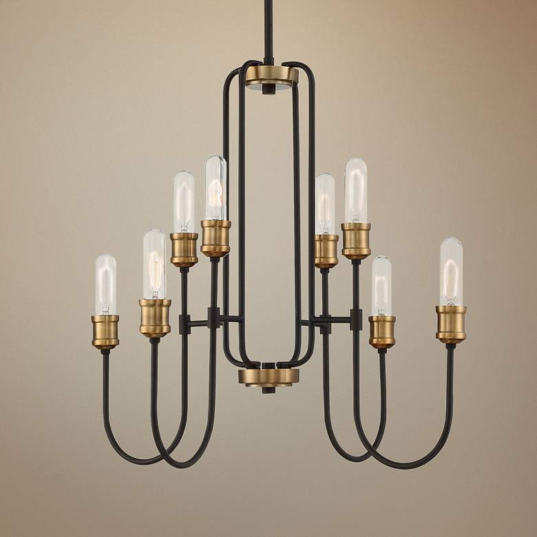 "Quoizel Channel 26"" Wide Western Bronze 8-Light Chandelier"