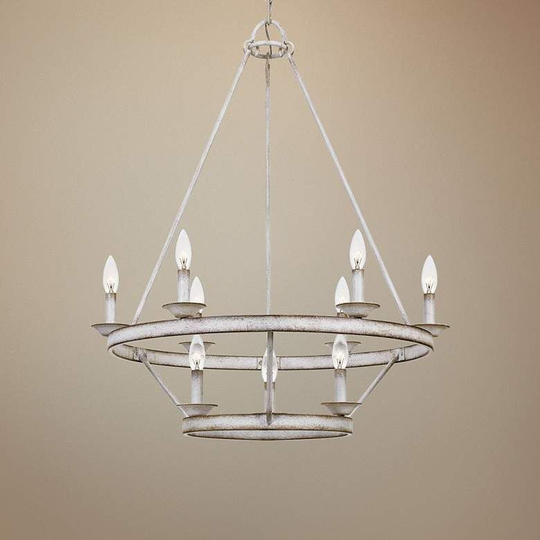 "Quoizel Corral 28"" Wide Antique White 9-Light Chandelier"