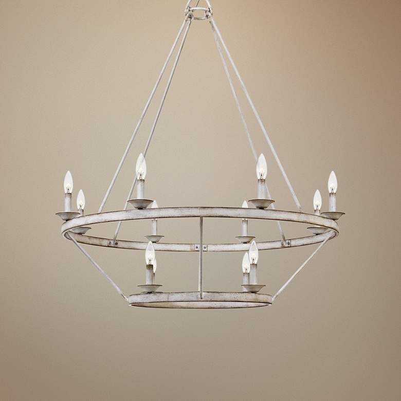 "Quoizel Corral 39 1/4""W Antique White 12-Light Chandelier"