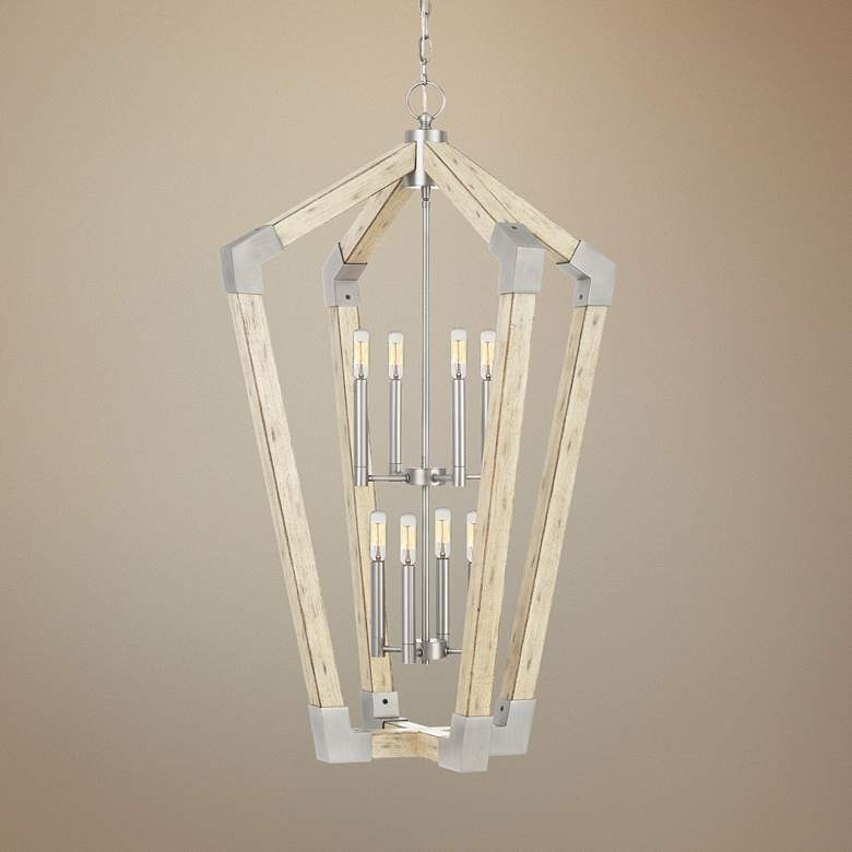 "Quoizel Fable 25 1/2"" Wide Wood Cage 8-Light Foyer Pendant"