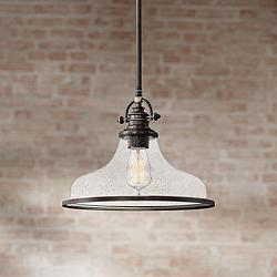 "Quoizel Grant 13 1/2"" Wide Palladian Bronze Pendant Light"