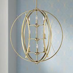 "Possini Euro Spherical 34"" Wide Antique Gold 9-Light Pendant"