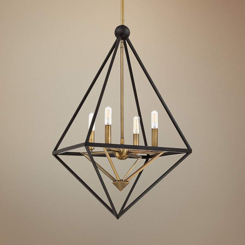 "Louvre 22 1/2"" Wide Bronze and Brass 4-Light Foyer Pendant"