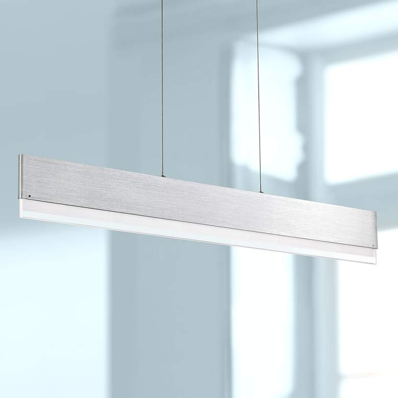 "Quoizel Cutlas 36"" Wide Brushed Aluminum LED Island"