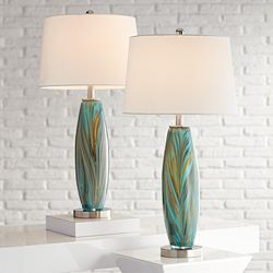 Azure Art Glass Table Lamps Set of 2