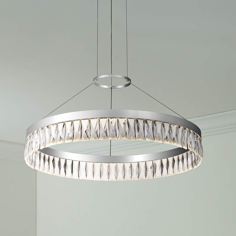 "Encore 23 1/2""W Polished Chrome LED Crystal Pendant"
