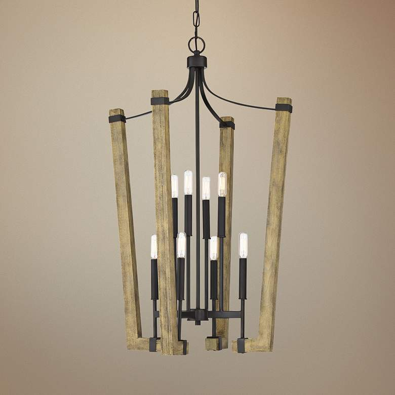 "Plains 22 1/4""W Wood w/ Western Bronze 8-Light"