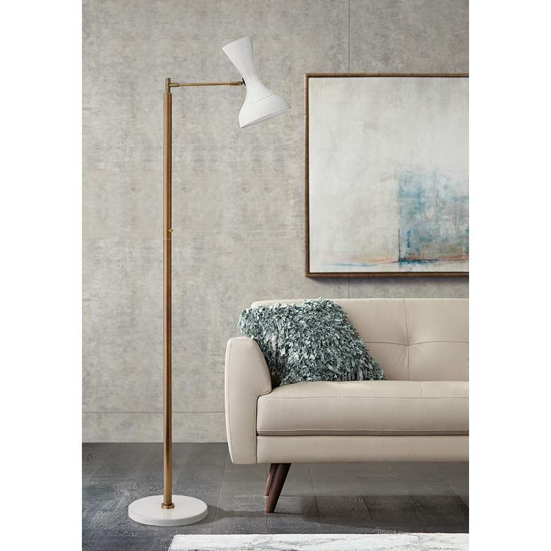 Pisa White Lacquer and Brass 2-Directional Floor Lamp