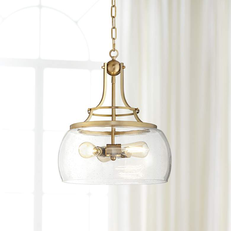 "Charleston 16"" Wide Warm Brass 3-Light LED Pendant"