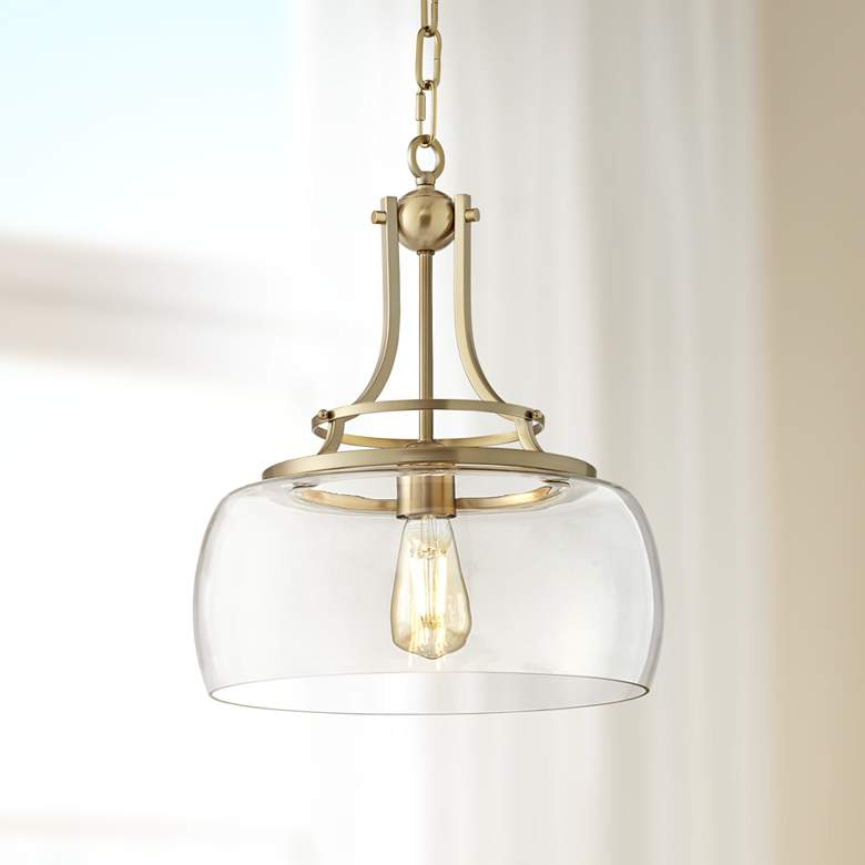 "Charleston 13 1/2"" Wide Brass LED Pendant Light"