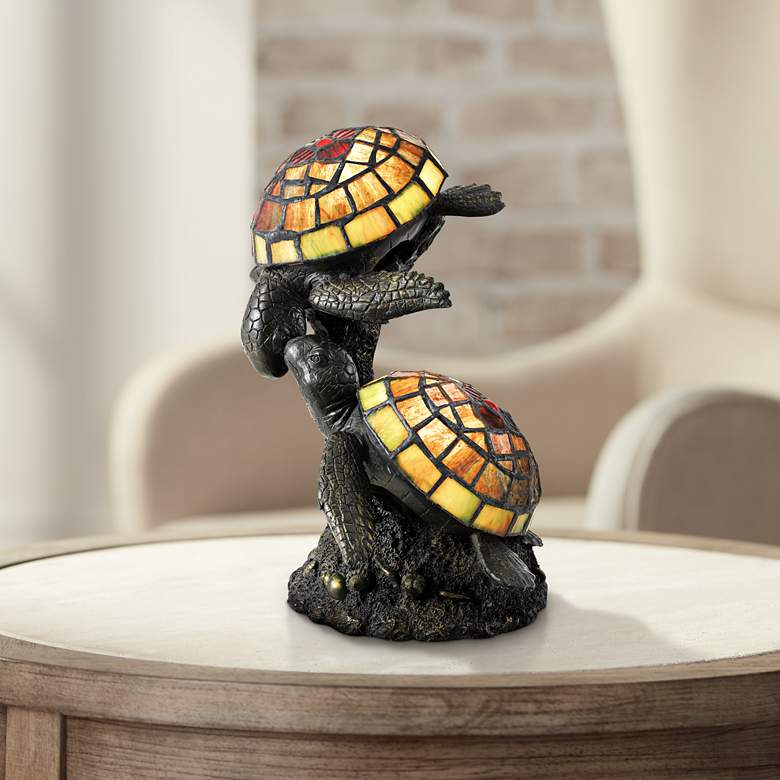 "Wellton 10 3/4"" High Tiffany-Style Turtle Uplight Table Lamp"