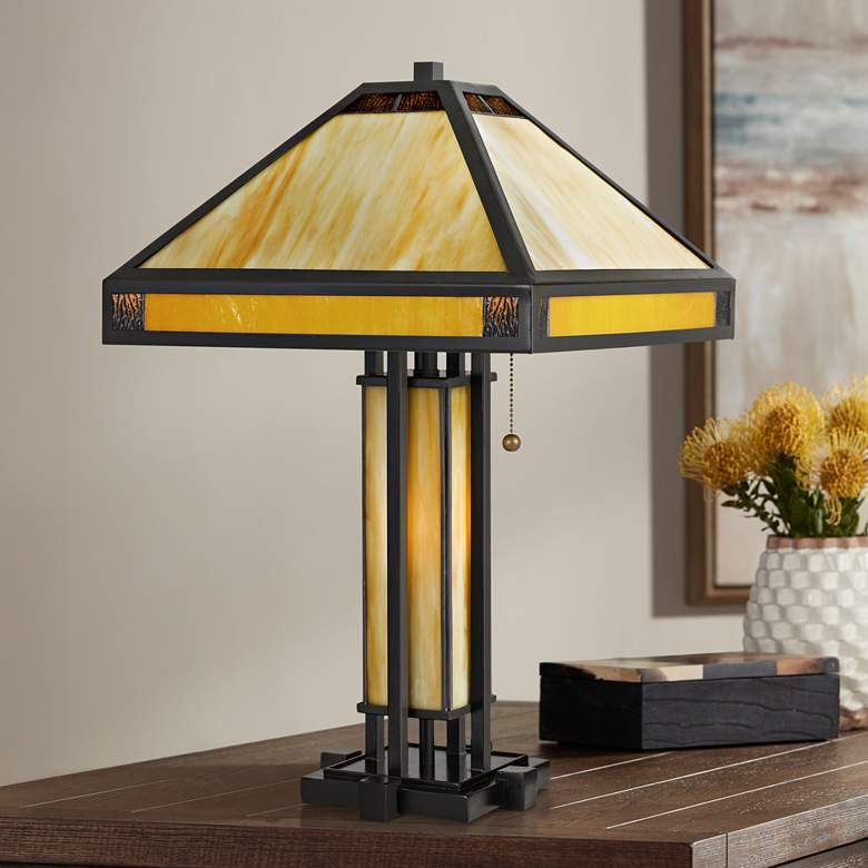 Quoizel Severance Vintage Bronze Tiffany-Style Table Lamp