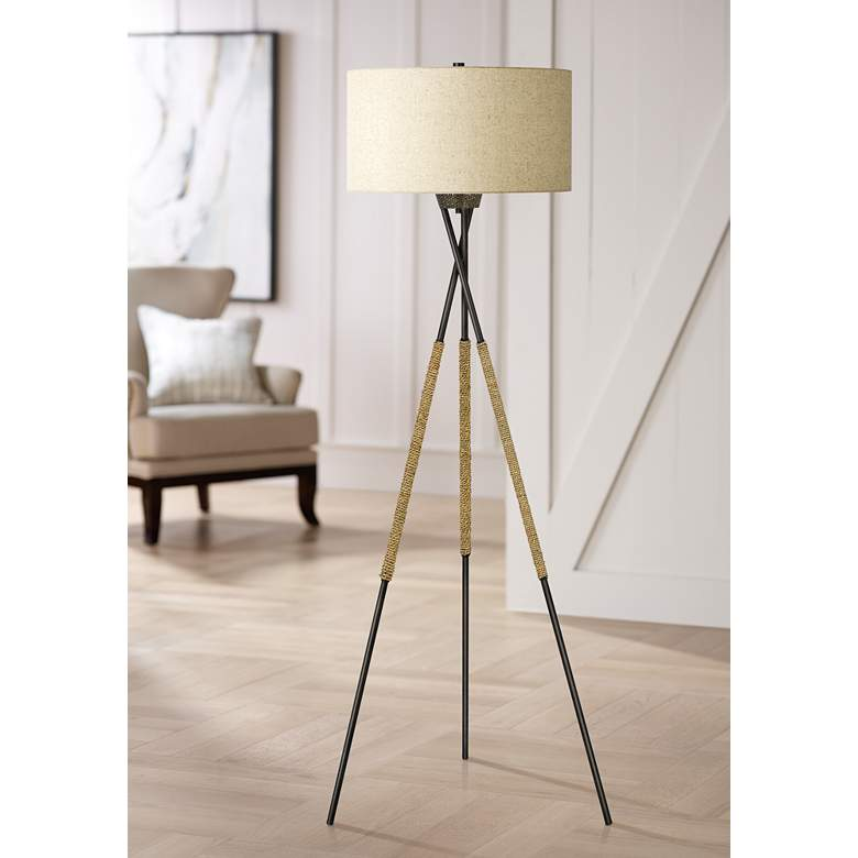 Quoizel Pembroke Tarnished Bronze Tripod Floor Lamp