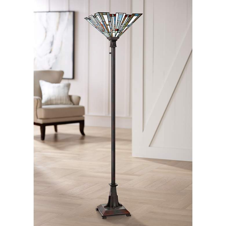 Maybeck Valiant Bronze Tiffany-Style Torchiere Floor Lamp