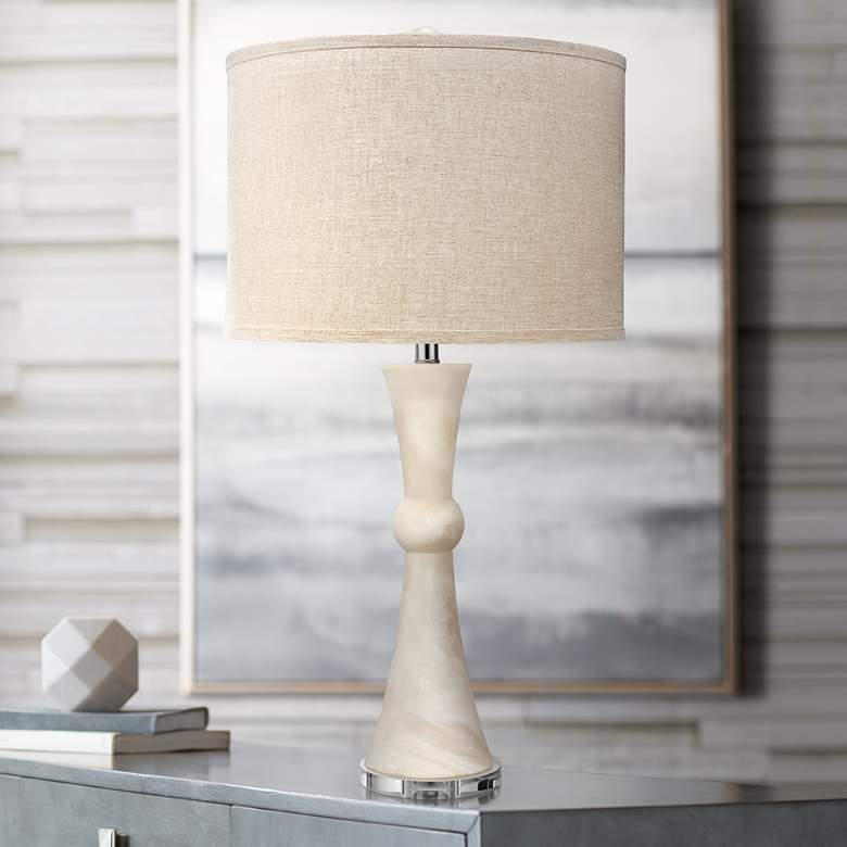 Jamie Young Commonwealth White Faux Alabaster Table Lamp