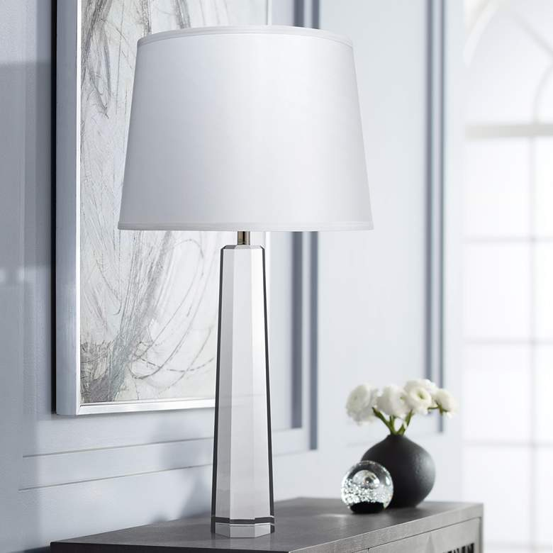 Jamie Young Empire Clear Crystal Pillar Table Lamp