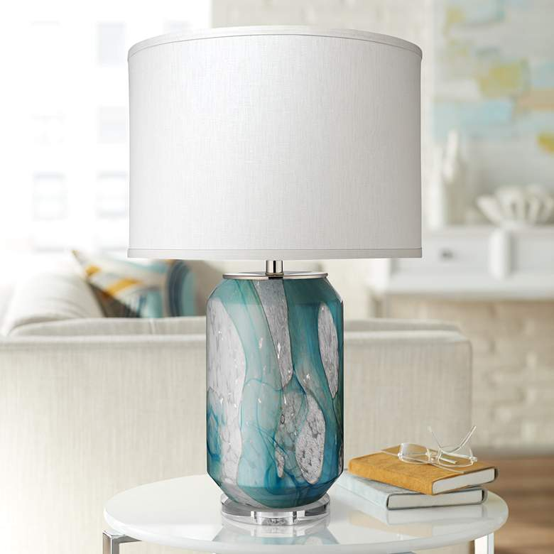 Jamie Young Helen Abstract Pale Blue Glass Table Lamp