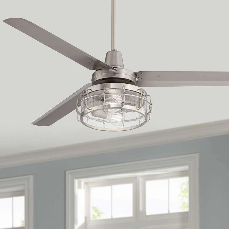 "60"" Turbina AC Brushed Nickel Seedy Glass LED Ceiling Fan"
