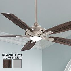 "52"" Minka Aire Dyno Brushed Nickel Aged Wood LED Ceiling Fan"