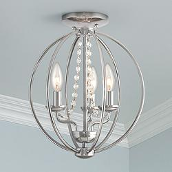 "Arabella 12"" Wide Polished Chrome Convertible Ceiling Light"