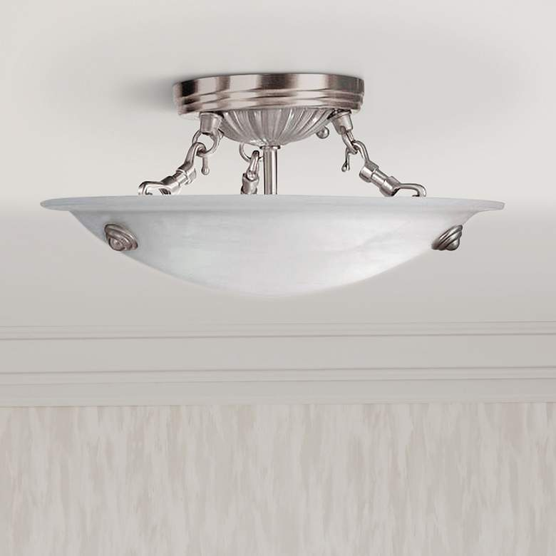"Oasis 12""W Brushed Nickel w/ Alabaster Bowl Ceiling"
