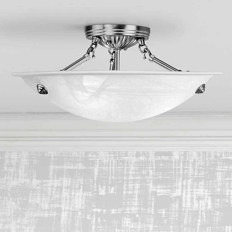 "Oasis 16""W Brushed Nickel and Alabaster Bowl Ceiling Light"
