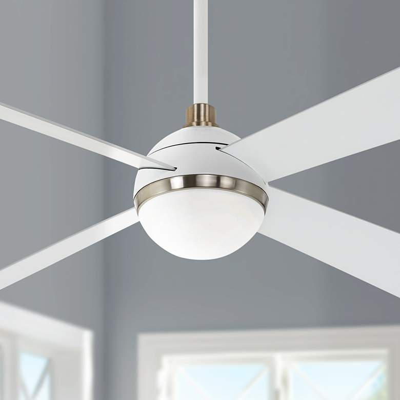 "54"" Minka Aire Orb Flat White LED Ceiling Fan"