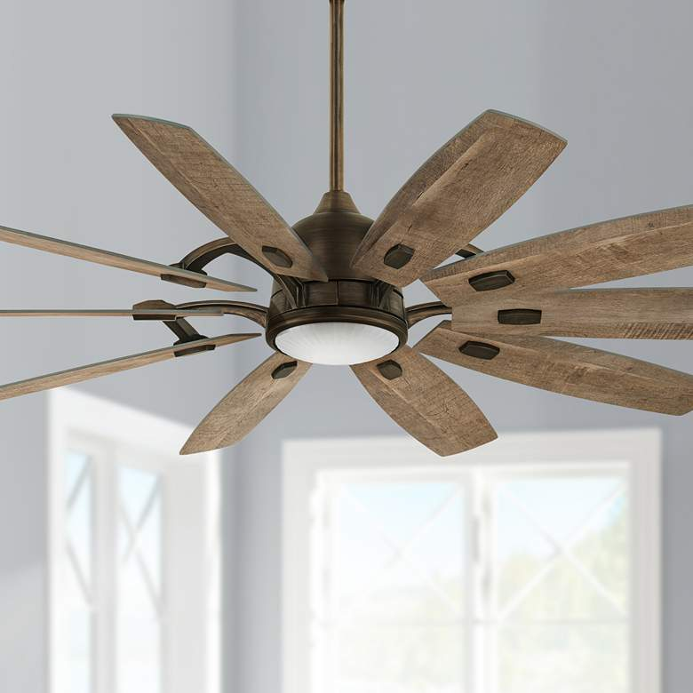 "65"" Minka Aire Barn Heirloom Bronze LED Ceiling Fan"
