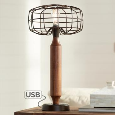 Madison Oil-Rubbed Bronze LED Table Lamp with USB Port
